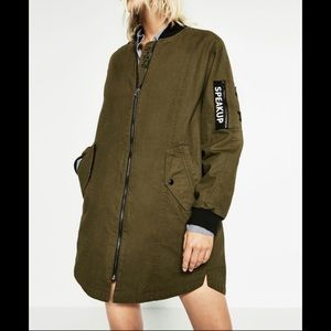 Zara Khaki Long Bomber Jacket/dress